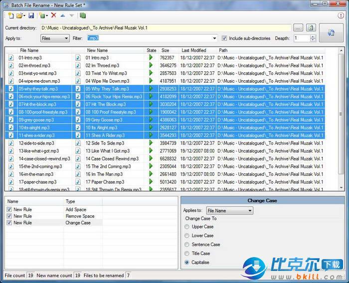 Batch File Rename Utility(文件批量改名软件) 1.1.4231 - DickMoore - DickMoore☆软件园