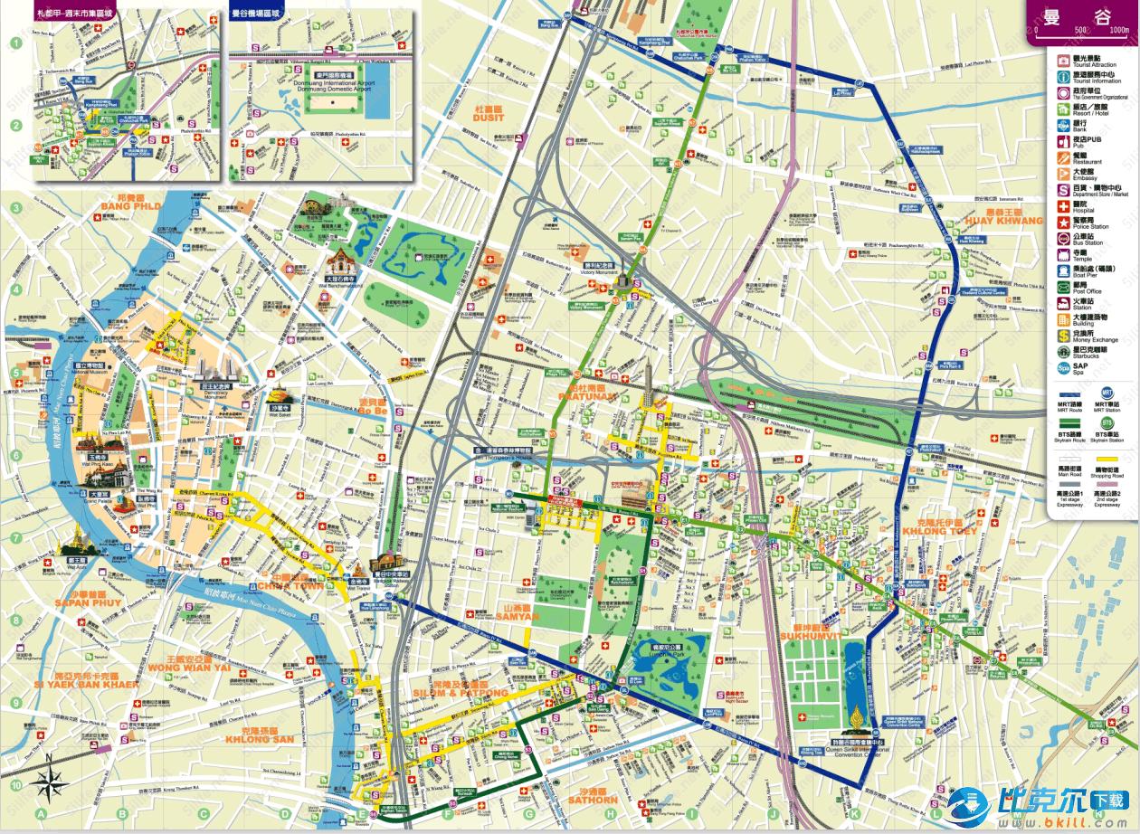 泰国曼谷地图 高清中文版
