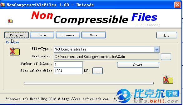 创建压缩文件(NonCompressibleFiles)