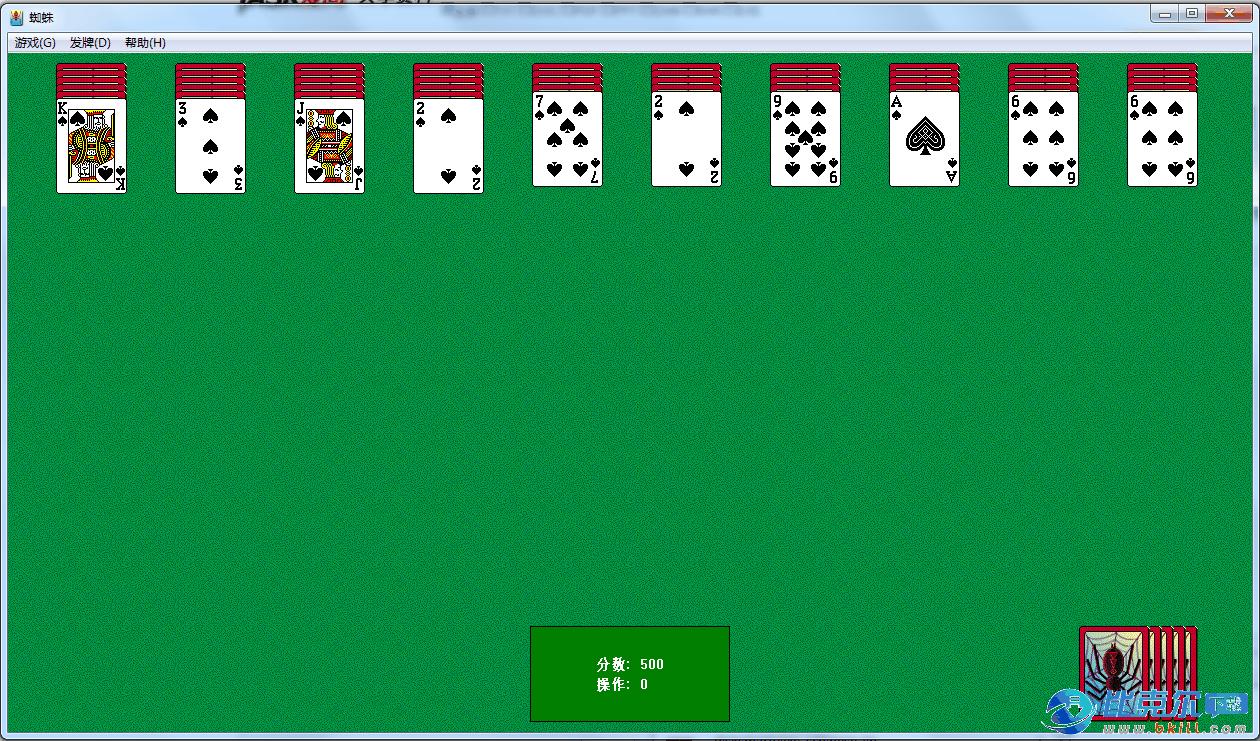 电脑自带的蜘蛛纸牌游戏