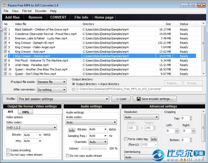 免费avi格式转换mp4(Pazera Free MP4 to AVI Converter)