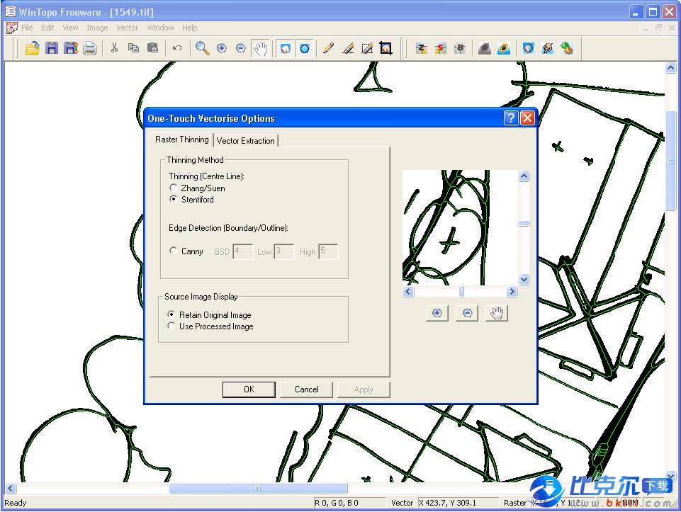 WinTopo是一个可把位图转换为矢量图的免费软件,支持将BMP、TIF、JPG或PNG 格式的位图转换为DXF、SHP、MIF或WMF格式的矢量图,转换后的矢量图形可用于 AutoCAD 和 IntelliCAD 等 CAD 工具软件