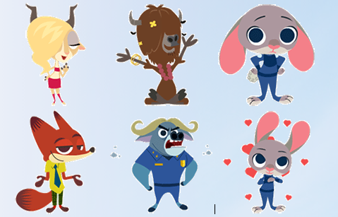 动物城的多个q版动态角色,动作滑稽,可爱,比如高兴,可爱,爱心,生气