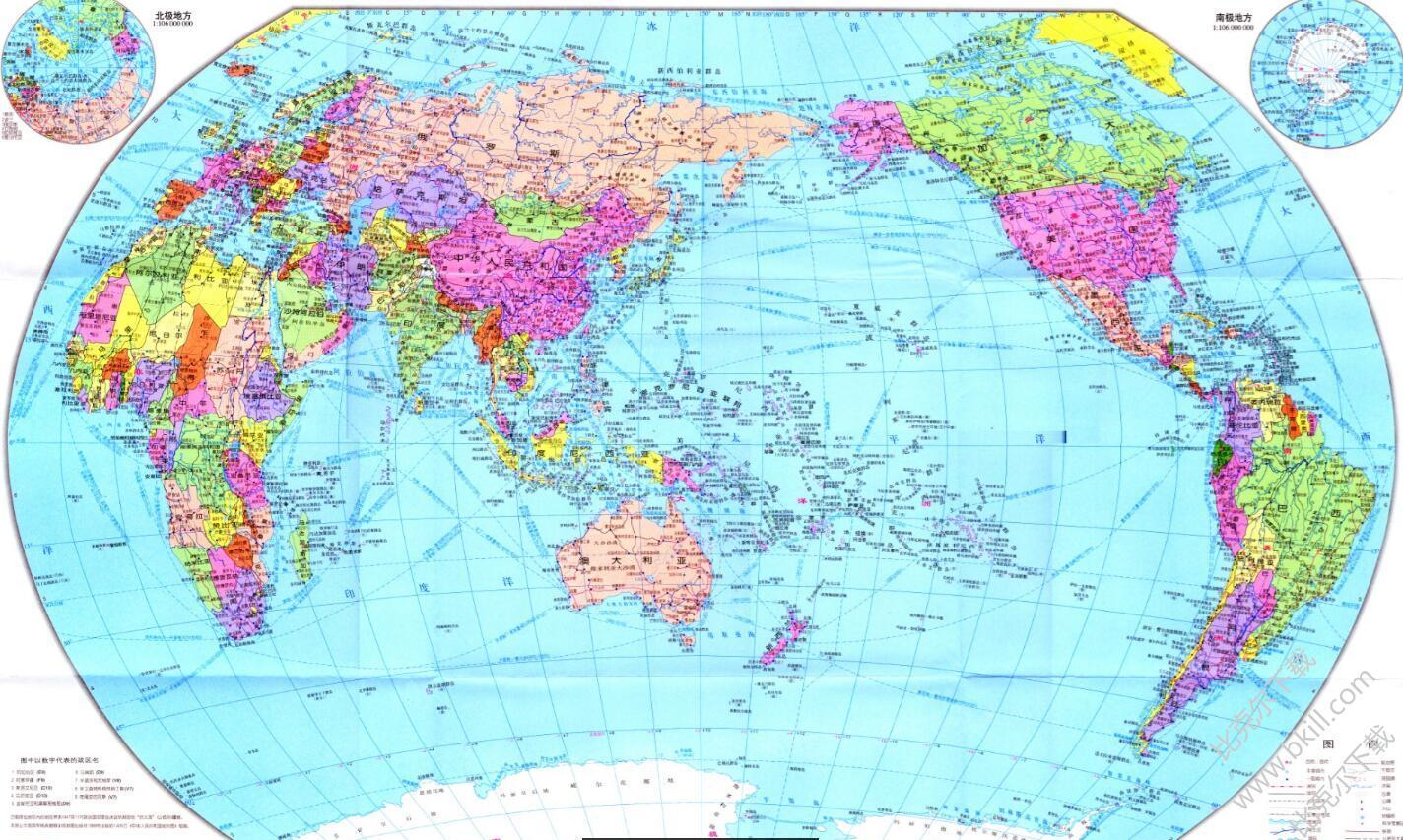 高清世界地图中文版(可放大图片) jpg版
