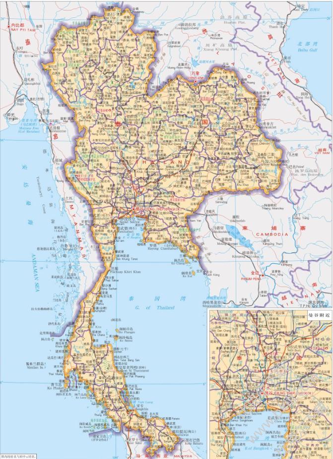 泰国地图高清中文版 jpg 可放大版