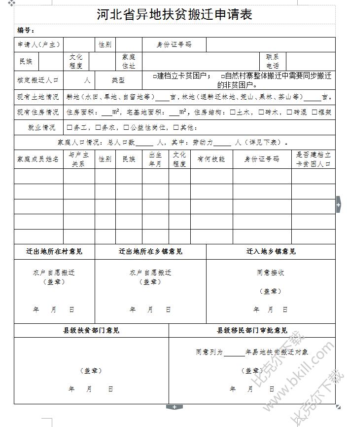 2018河北省��地扶�搬�w申�表